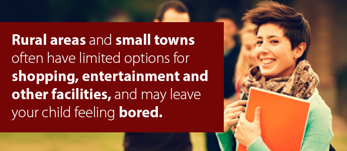 Rural areas and small towns often have limited options for shopping, entertainment, and other facilities, and may leave your child feeling bored