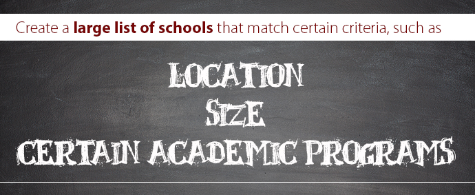 Create a large list of schools that match certain criteria, such as: location, size, and certain academic programs